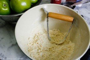 Apple Pie ~ blend in the butter with a pastry blender
