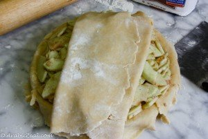 Apple Pie ~ transfer top pastry to dish